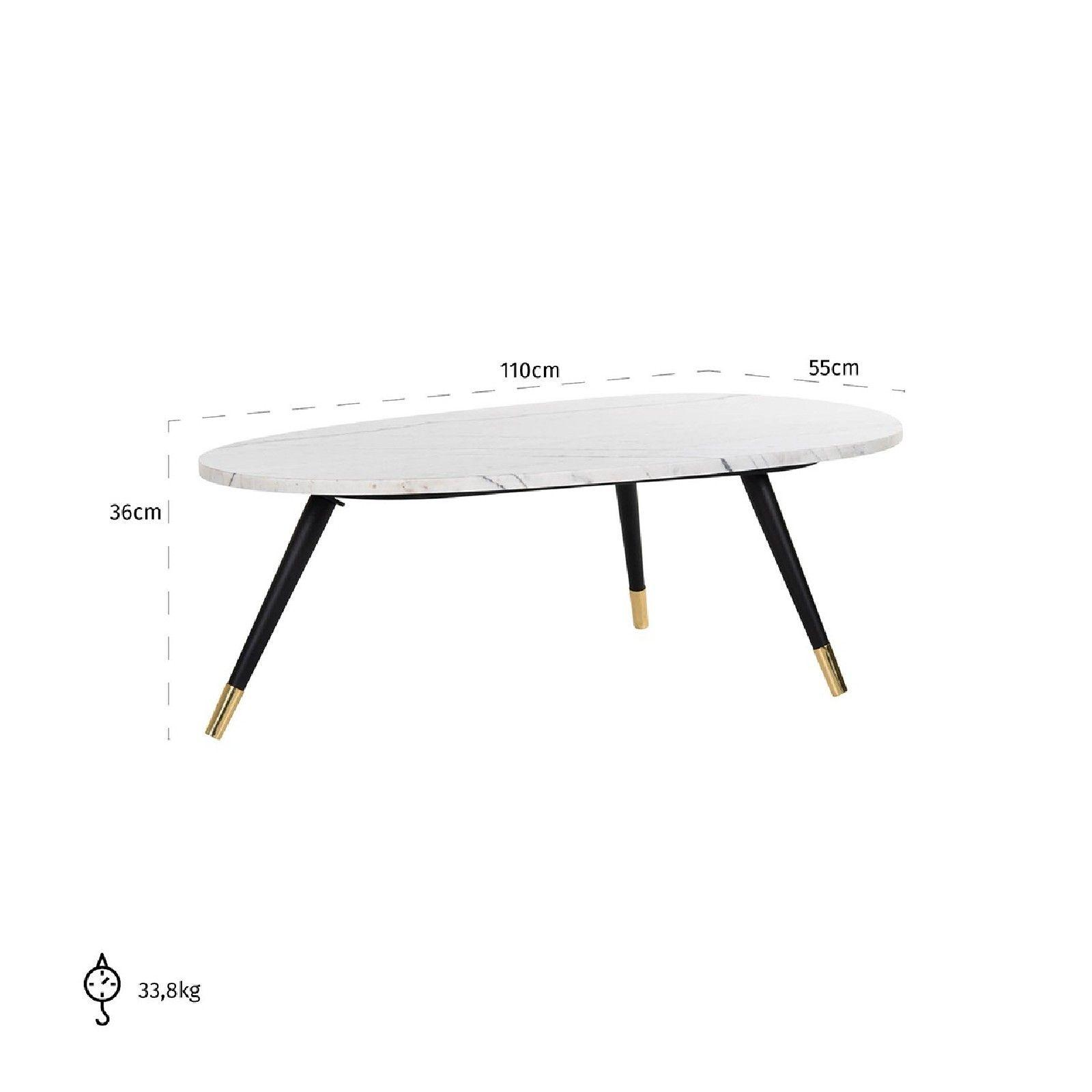 Table basse ovale - Métal et marbre blanc