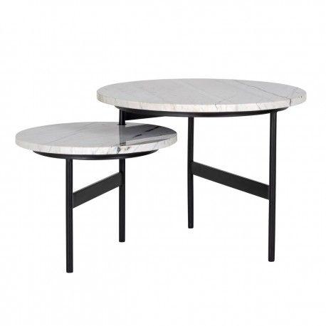 """Table basse ronde - 2 plateaux rotatifs - Fer et marbre blanc """"Lexington"""""""
