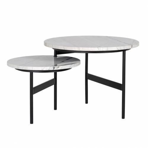 """Table basse ronde - 2 plateaux rotatifs - Fer et marbre blanc """"Lexington"""" Tables basses rondes - 45"""