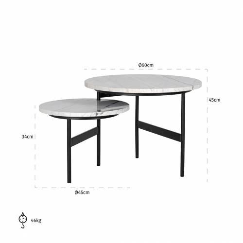 """Table basse ronde - 2 plateaux rotatifs - Fer et marbre blanc """"Lexington"""" Tables basses rondes - 124"""