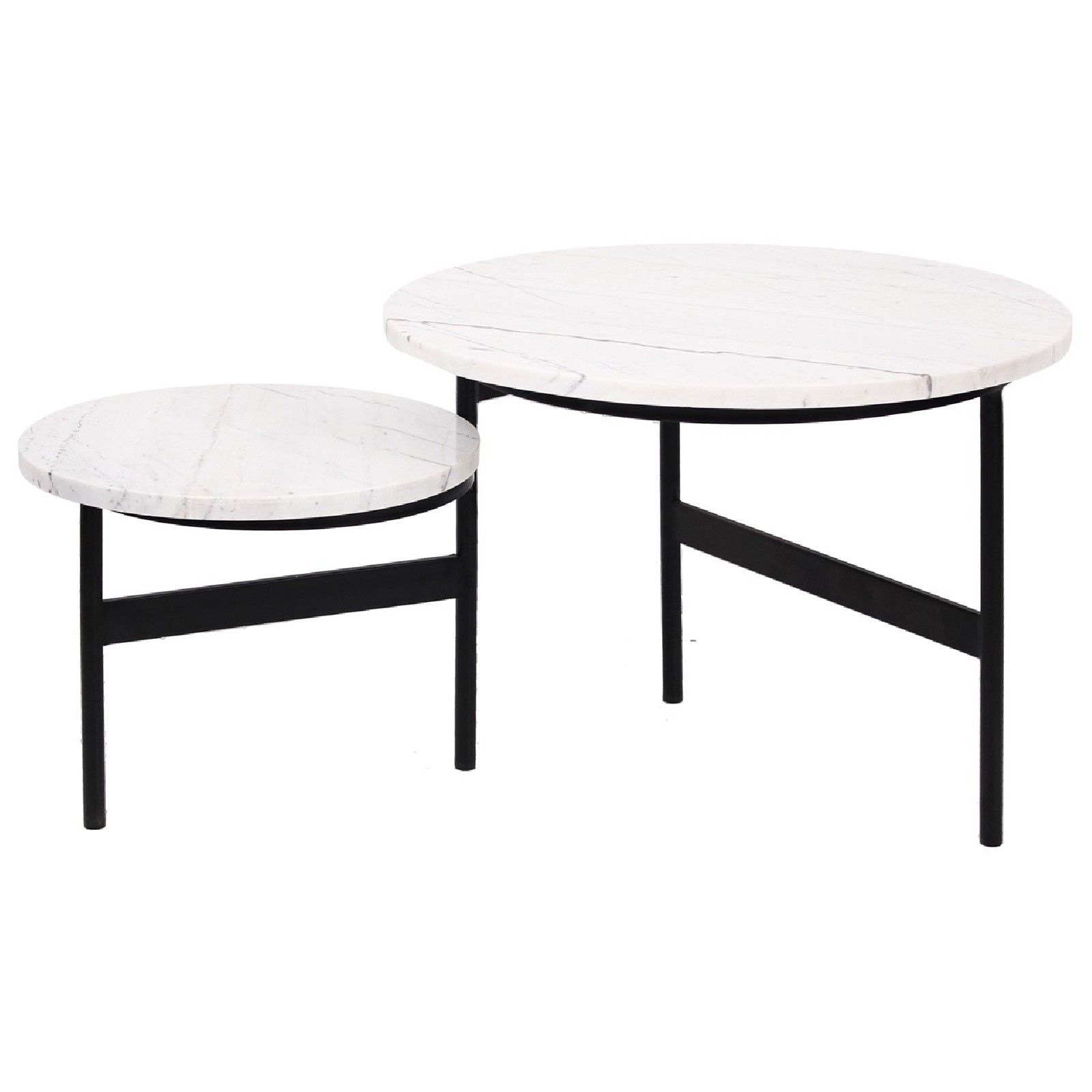 Table basse ronde - 2 plateaux rotatifs - Fer et marbre blanc
