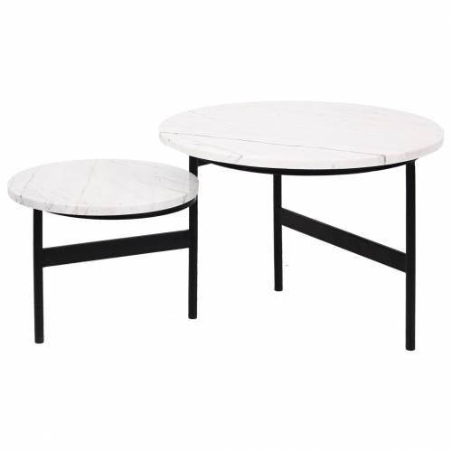 """Table basse ronde - 2 plateaux rotatifs - Fer et marbre blanc """"Lexington"""" Tables basses rondes - 145"""
