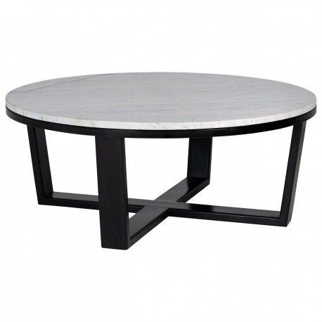 """Table basse ronde 90Ø - Fer et marbre blanc """"Lexington"""""""