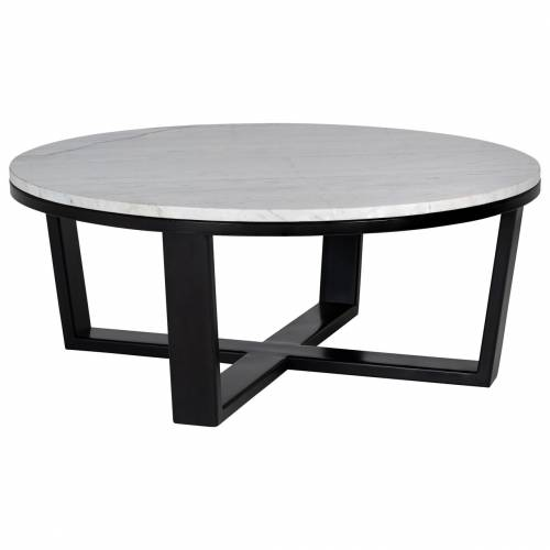 """Table basse ronde 90Ø - Fer et marbre blanc """"Lexington"""" Tables basses rectangulaires - 38"""