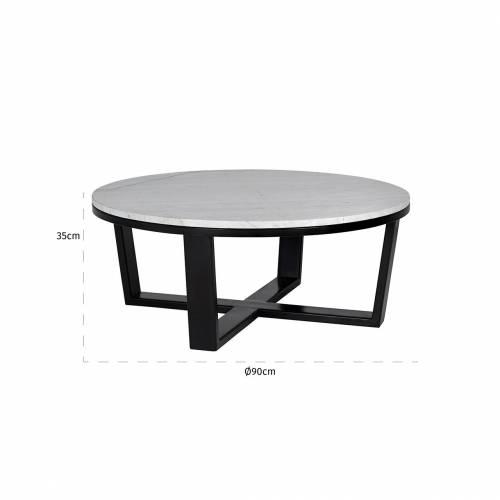 """Table basse ronde 90Ø - Fer et marbre blanc """"Lexington"""" Tables basses rectangulaires - 121"""