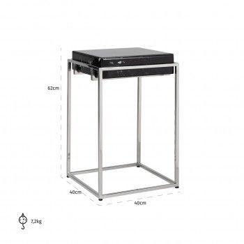 Table d'angle Dante avec look marbre noir Meuble Déco Tendance - 820
