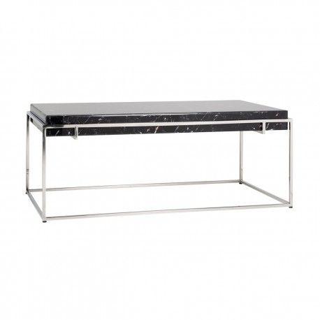 """Table basse rectangulaire - Plateau marbre noir """"Dante"""""""