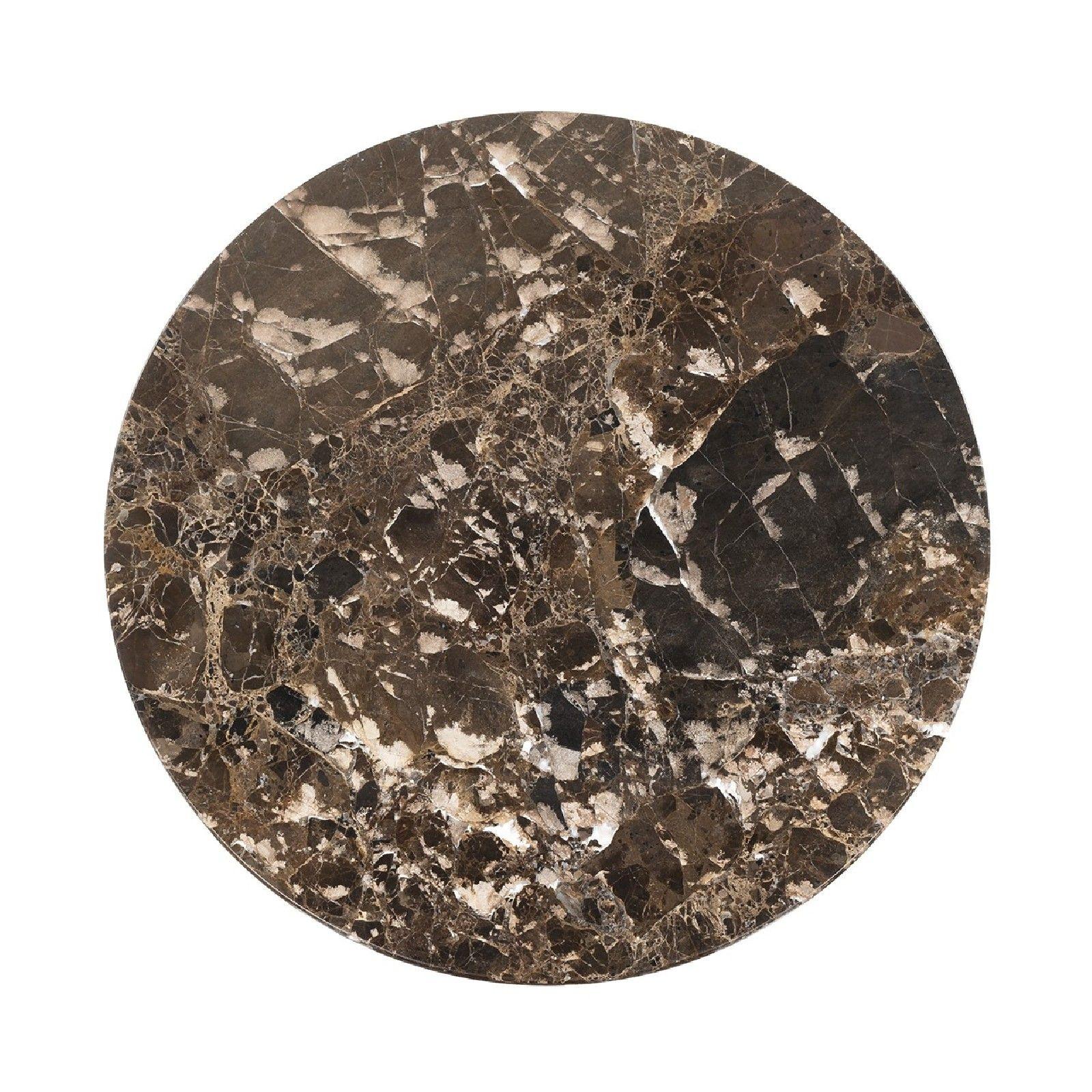 Table d'angle Orion 45Ø avec du marbre brun Meuble Déco Tendance - 393