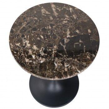 Table d'angle Orion 45Ø avec du marbre brun Meuble Déco Tendance - 610