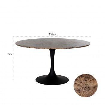 Table a manger Orion 140Ø avec du marbre brun Meuble Déco Tendance - 533