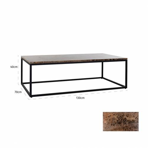 "Table basse rectangulaire - Plateau marbre brun ""Orion"" Tables basses rectangulaires - 157"
