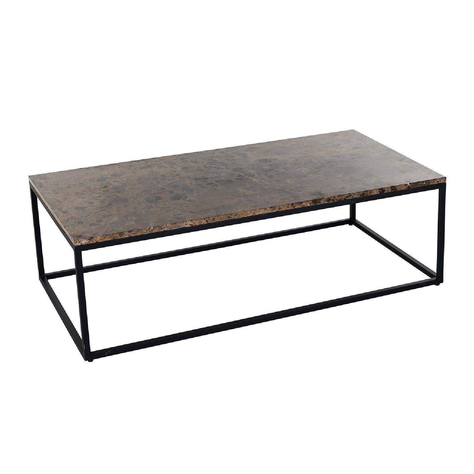 Table basse rectangulaire - Plateau marbre brun