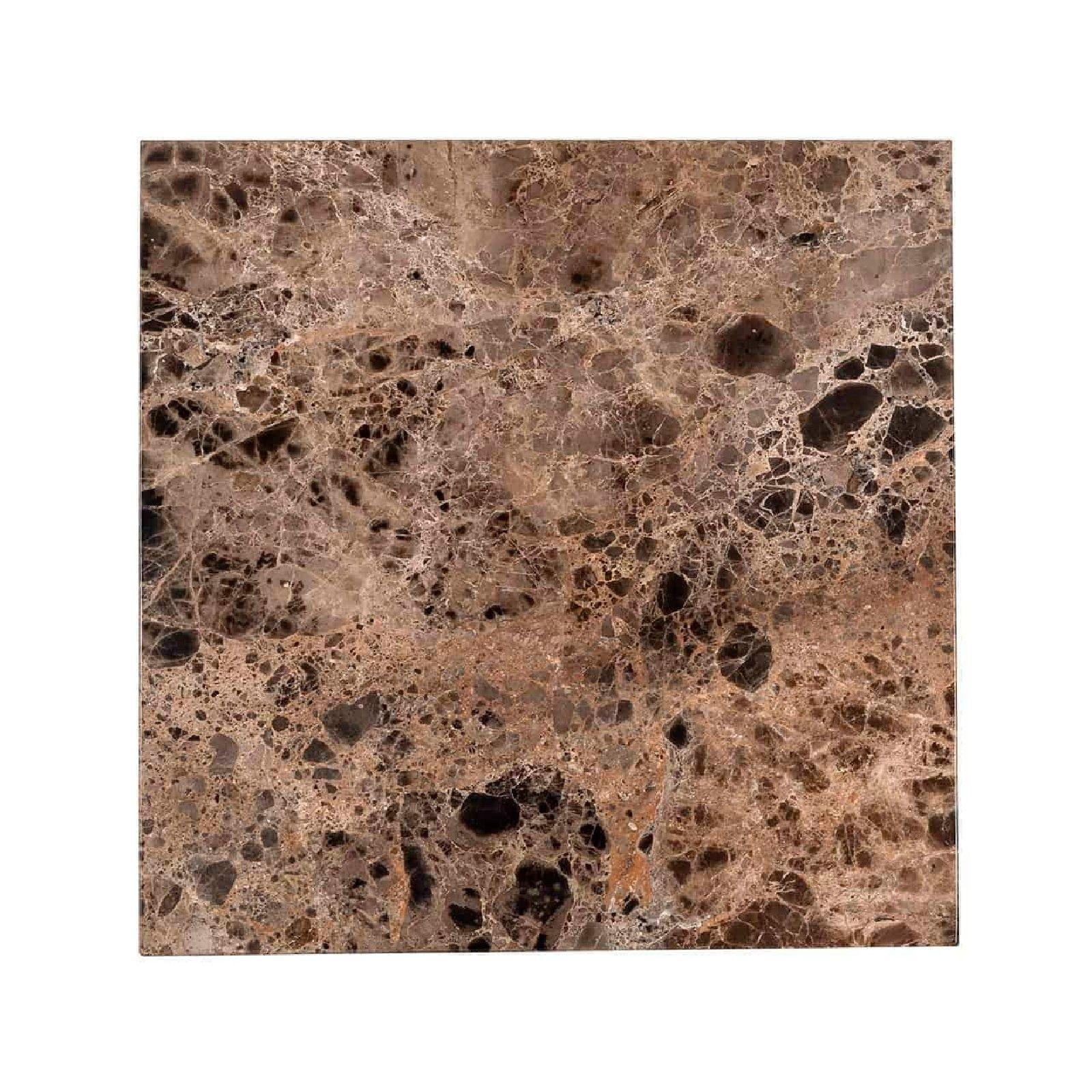 Table d'angle Orion avec du marbre brun Meuble Déco Tendance - 438