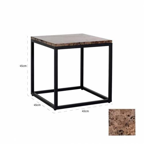 Table d'angle Orion avec du marbre brun Meuble Déco Tendance - 627