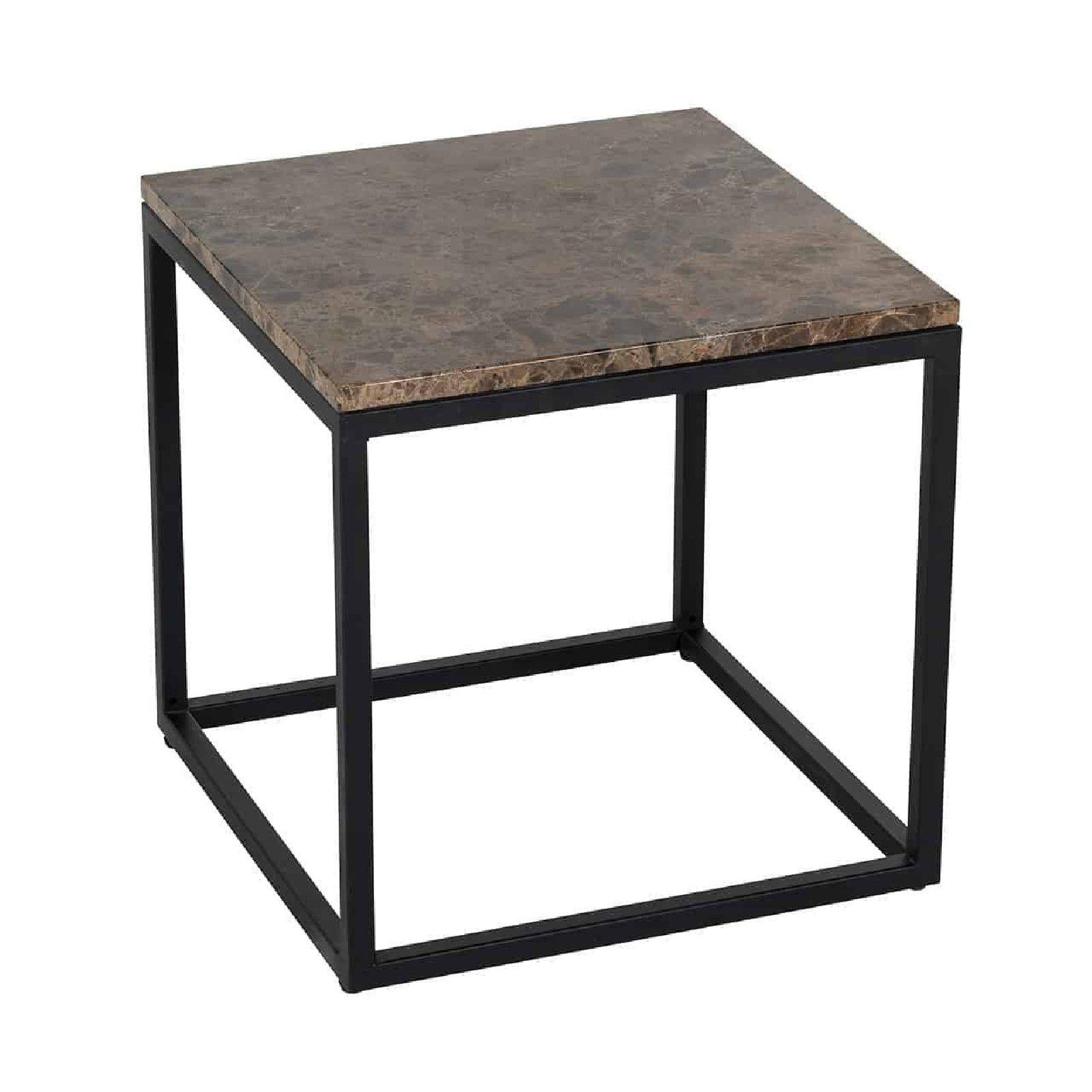 Table d'angle Orion avec du marbre brun Meuble Déco Tendance - 751