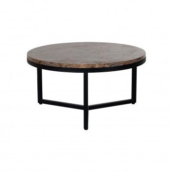 "Table basse ronde 60Ø - Metal et marbre brun ""Orion"" Tables basses rondes - 71"