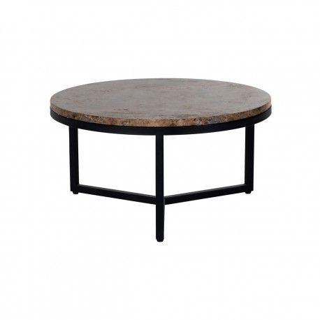 """Table basse ronde 60Ø - Metal et marbre brun """"Orion"""""""