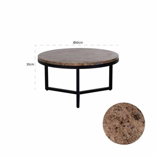 "Table basse ronde 60Ø - Metal et marbre brun ""Orion"" Tables basses rondes - 132"