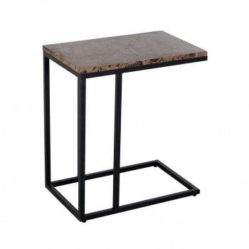 Table d'appoint Orion avec du marbre brun Meuble Déco Tendance - 193