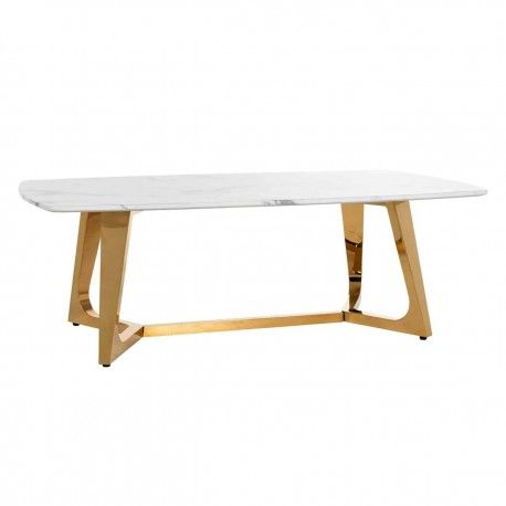 """Table basse ovale - Or et marbre blanc """"Dynasty"""""""