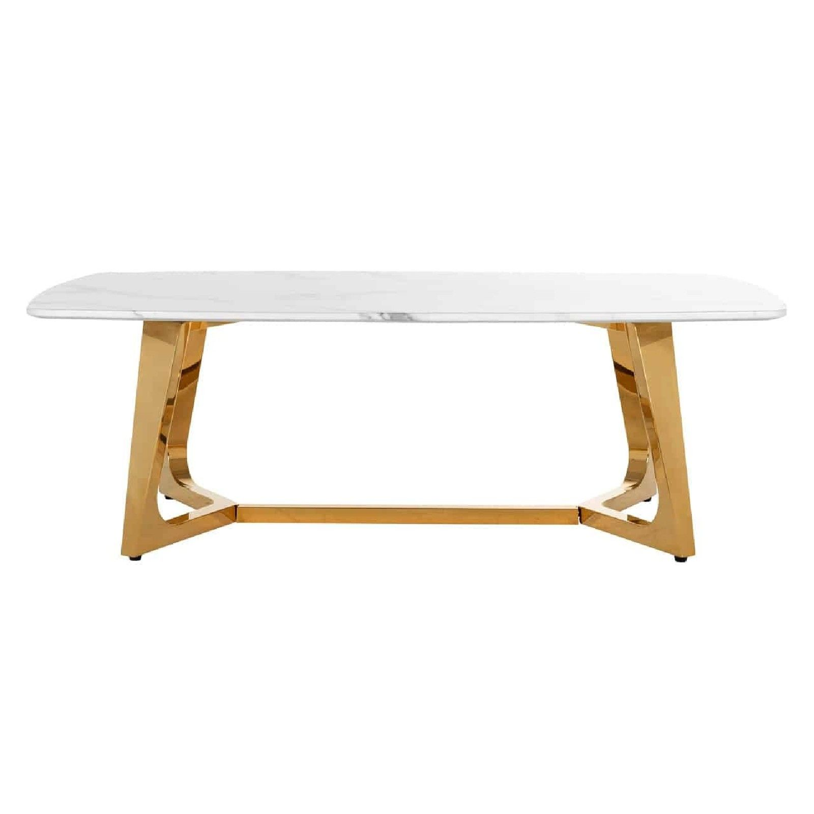 Table basse ovale - Or et marbre blanc