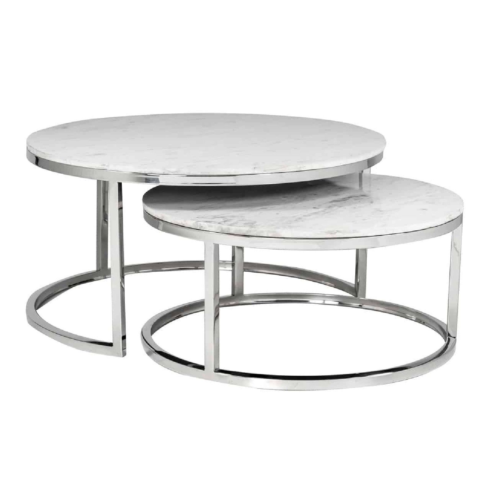 """Set de 2 table basse ronde - Inox et marbre blanc """"Levanto"""" Tables basses rondes - 94"""