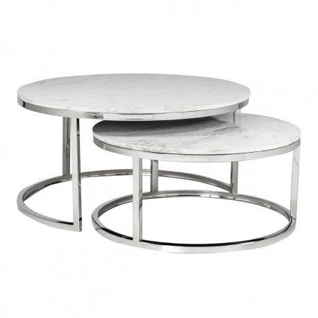 "Set de 2 table basse ronde - Inox et marbre blanc ""Levanto"""