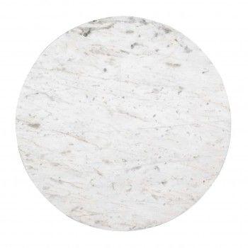"""Set de 2 table basse ronde - Inox et marbre blanc """"Levanto"""" Tables basses rondes - 325"""