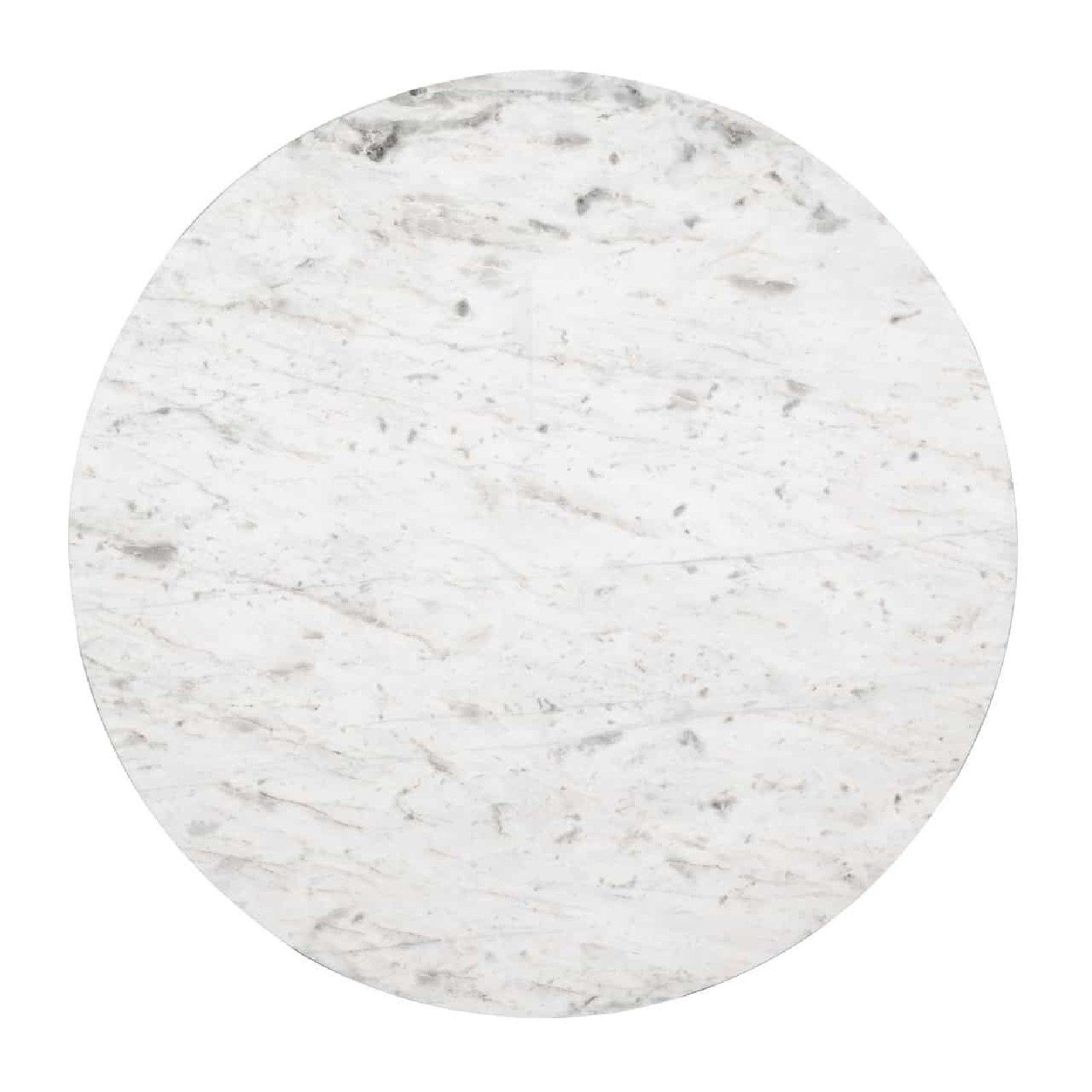 Set de 2 table basse ronde - Inox et marbre blanc