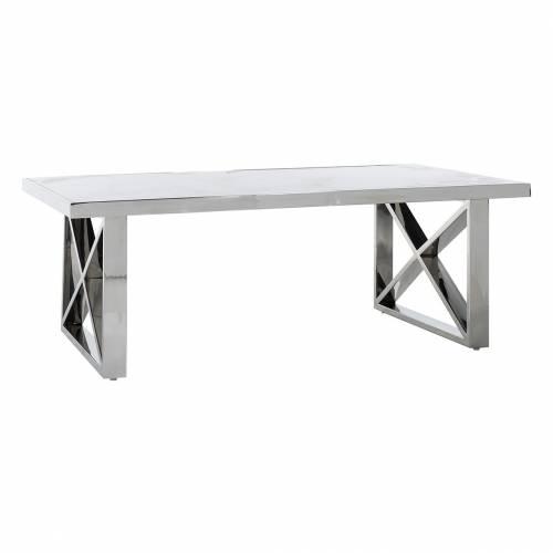 "Table basse rectangulaire - Inox et marbre blanc ""Levanto"" Tables basses rectangulaires - 109"