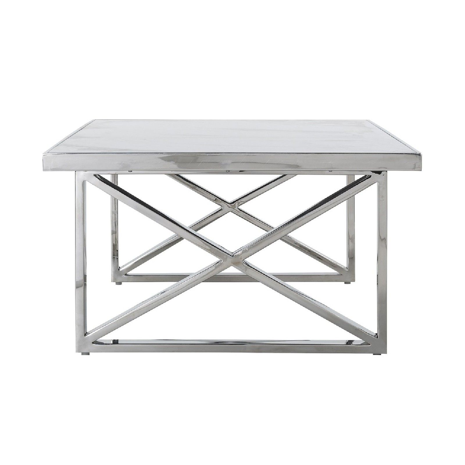 Table basse rectangulaire - Inox et marbre blanc