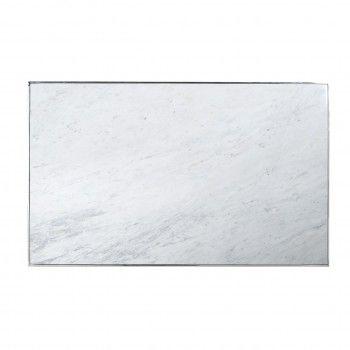 "Table basse rectangulaire - Inox et marbre blanc ""Levanto"" Tables basses rectangulaires - 549"