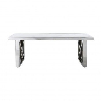 "Table basse rectangulaire - Inox et marbre blanc ""Levanto"" Tables basses rectangulaires - 709"