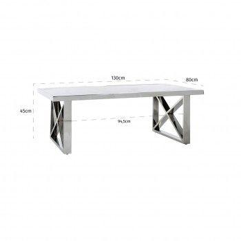 "Table basse rectangulaire - Inox et marbre blanc ""Levanto"" Tables basses rectangulaires - 724"