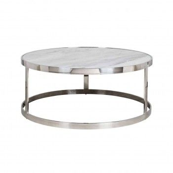 "Table basse ronde 95Ø -  Inox et marbre blanc ""Levanto"" Tables basses rondes - 63"