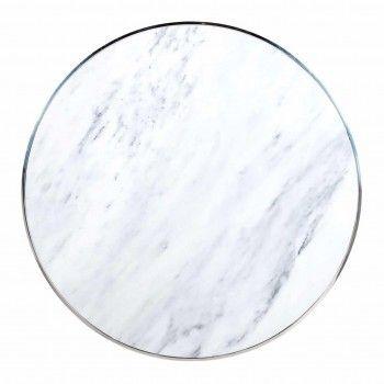 "Table basse ronde 95Ø -  Inox et marbre blanc ""Levanto"" Tables basses rondes - 295"