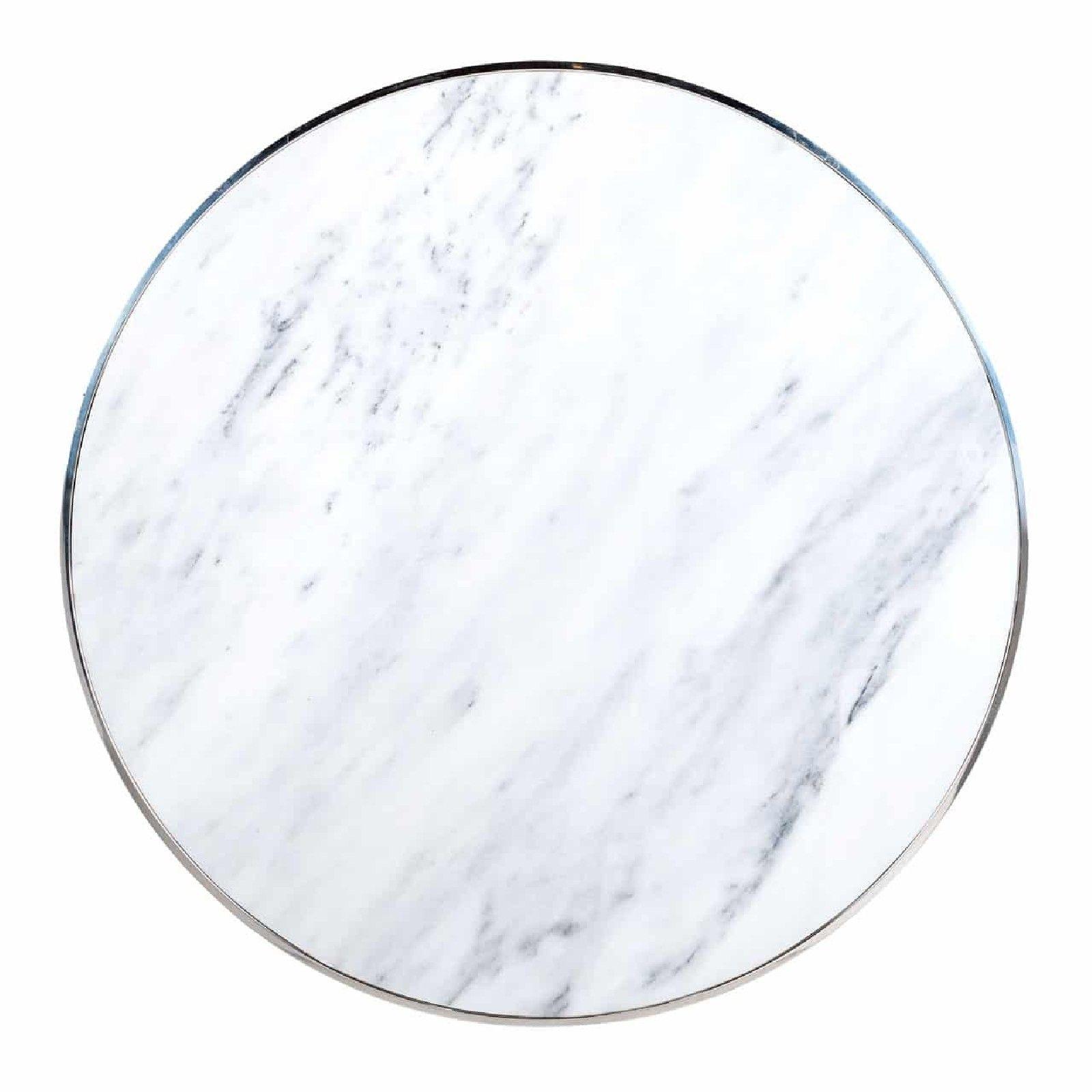 Table basse ronde 95Ø -  Inox et marbre blanc