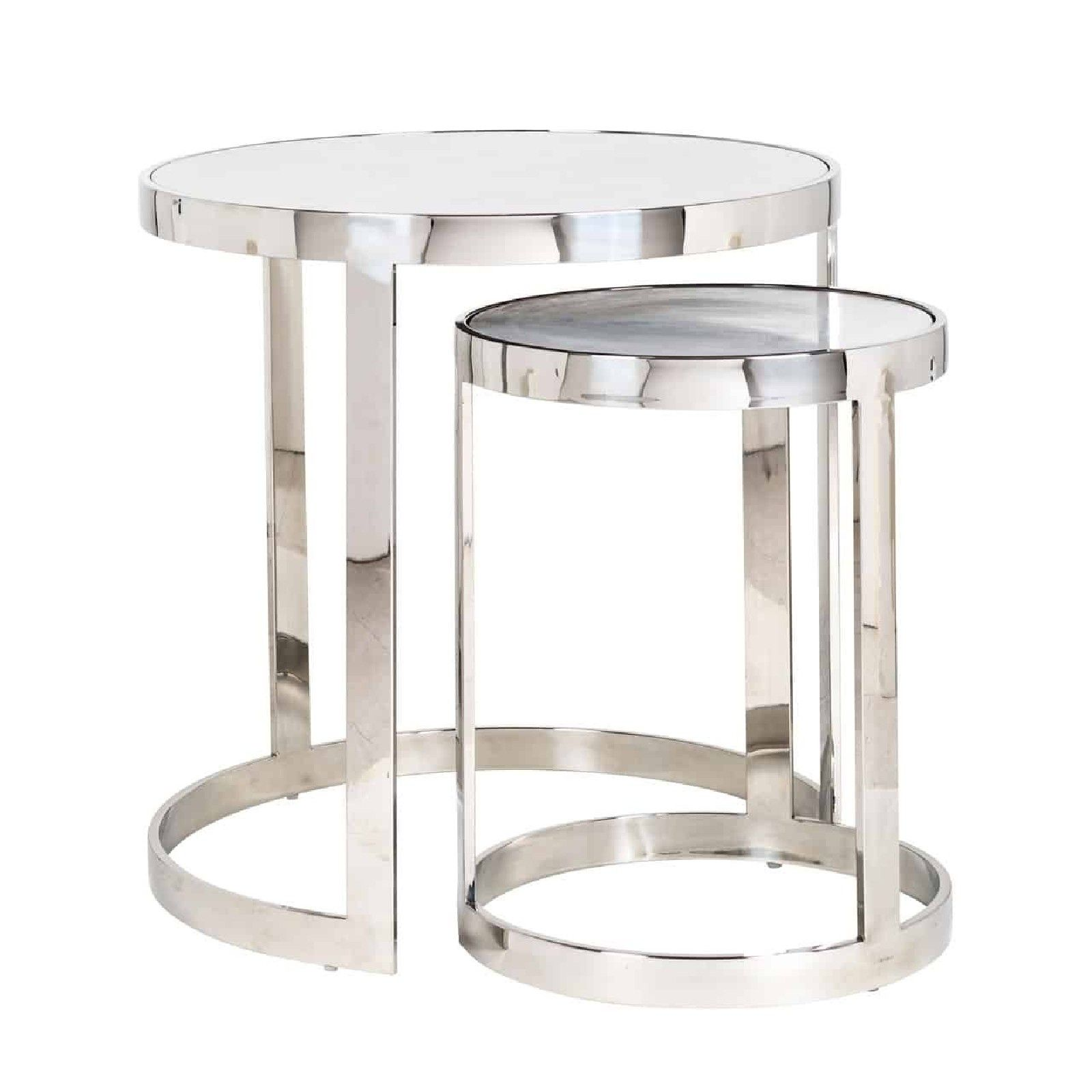 Table d'angle Levanto set de 2 rond Meuble Déco Tendance - 131