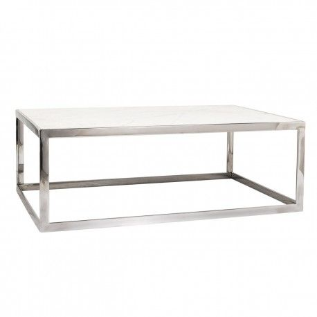 "Table basse rectangulaire - Inox et marbre blanc ""Levanto"""