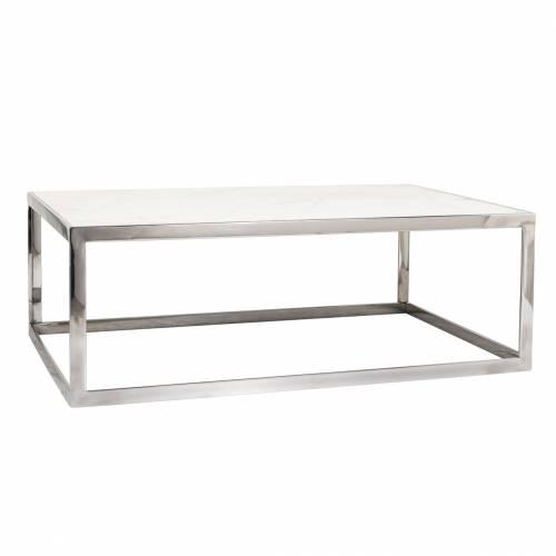 "Table basse rectangulaire - Inox et marbre blanc ""Levanto"" Tables basses rectangulaires - 192"
