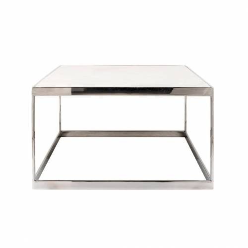 "Table basse rectangulaire - Inox et marbre blanc ""Levanto"" Tables basses rectangulaires - 227"