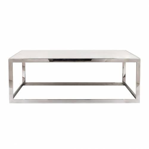 "Table basse rectangulaire - Inox et marbre blanc ""Levanto"" Tables basses rectangulaires - 445"
