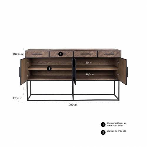 Bahut Herringbone 4-portes 4-tiroirs Meuble Déco Tendance - 640
