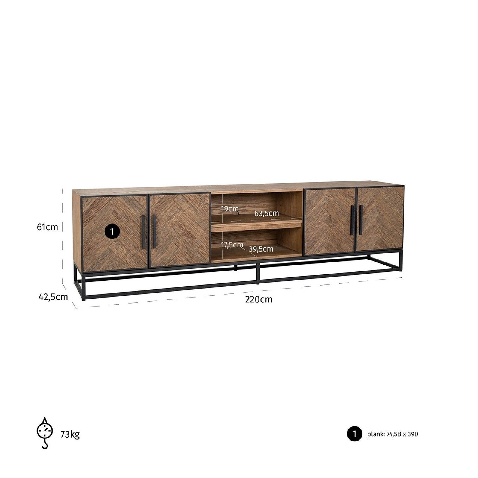 Meuble TV Herringbone 4-tiroirs Meuble Déco Tendance - 741