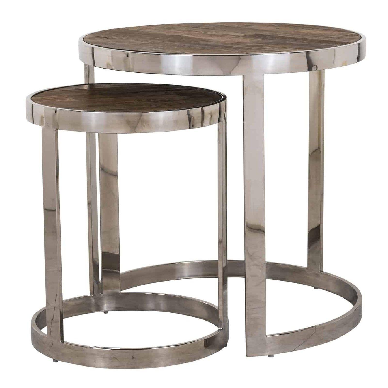 Table d'angle Redmond / Maddox set de 2 rond Meuble Déco Tendance - 154
