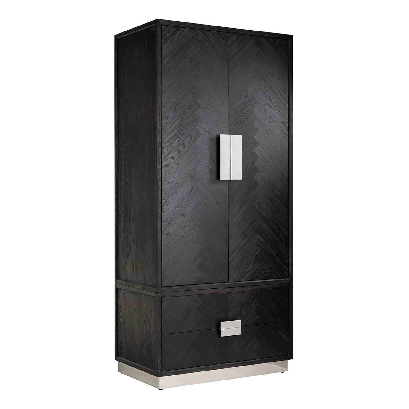 Armoire Blackbone silver avec 2-portes 2-tiroirsPour être utilisé avec des étagères ou suspendus Meuble Déco Tendance - 130