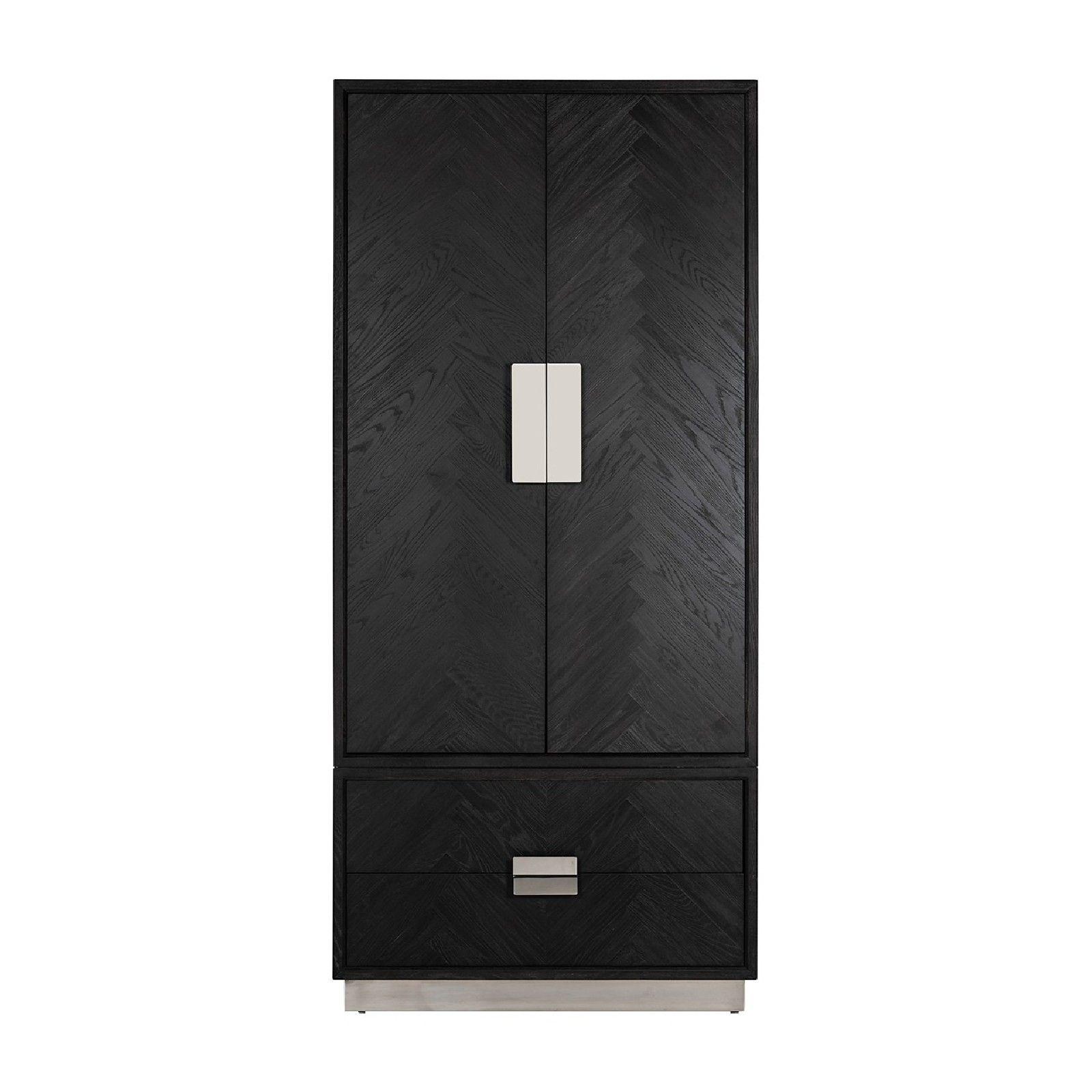 Armoire Blackbone silver avec 2-portes 2-tiroirsPour être utilisé avec des étagères ou suspendus Meuble Déco Tendance - 564