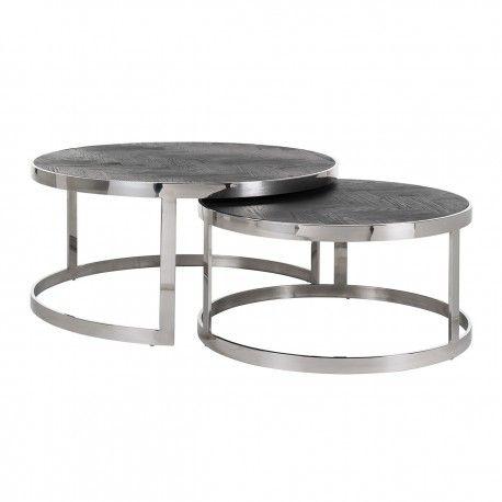 Table de salon Blackbone silver set de 2 rond