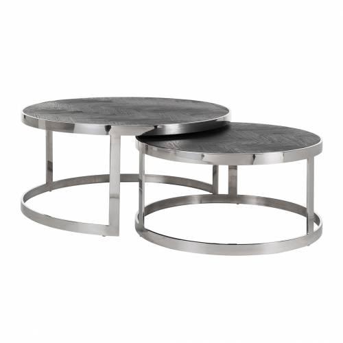 Table de salon Blackbone silver set de 2 rond Tables basses rectangulaires - 95