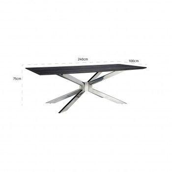 Table à dîner Blackbone Matrix silver 240x100 Meuble Déco Tendance - 663